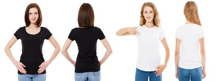 T-shirt set. Front and back view Brunette and Blonde in white and black t shirt isolated. Two girl in blank shirt, Mock up,. Collage, Copy space, Template stock image