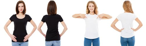 T-shirt set. Front and back view Brunette and Blonde in white and black t shirt isolated. Two girl in blank shirt, Mock up, royalty free stock photography