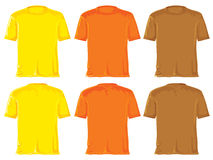 T- shirt set. Orange, yellow & brown Royalty Free Stock Photos