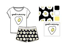 T-shirt and short set printed in scrambled eggs. Technical sketch Royalty Free Stock Photo