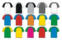 T-shirt short sleeve raglan Colorful Stock Images