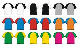 T shirt short sleeve raglan Colorful Vector Royalty Free Stock Photos