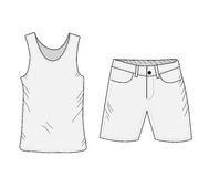 T-shirt and shorts sketch set. Things in the style of hand drawing. Summer clothes casual style. Tank top and shorts mockup. Vecto Royalty Free Stock Photos