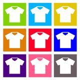 T-shirt sign icon. Clothes symbol. Round colourful Stock Photography
