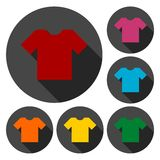 T-shirt sign icon, Clothes symbol set with long shadow. Vector icon Stock Image