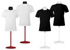 T-shirt simple sur le calibre de torse de mannequin. illustration libre de droits