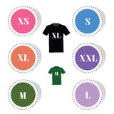 T-shirt and size color  illustration Royalty Free Stock Photos