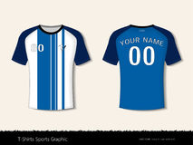T-shirt sport design for football club, Front and back view soccer jersey uniform, Sport slim fit shirts apparel mock up. Stock Image