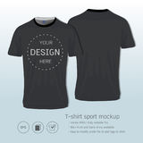 T-shirt sport design for football club, Front and back view soccer jersey uniform. Sport slim fit shirts apparel mock up, Graphic template vector Illustration Royalty Free Stock Photos