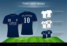 T-shirt sport design for football club on soccer playing field background, Front and back view jersey shirt uniform. T-shirt sport design for football club on Royalty Free Stock Images