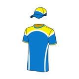 T-shirt sport designs and baseball cap. Stock Photo