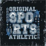 T-shirt sports, original emblem, athletic leisure. Granje texture, t-shirts inscription typography, graphic design stock illustration