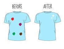 T-shirt sujo e limpo Antes de limpar e após ter limpado o t-shirt Fotografia de Stock