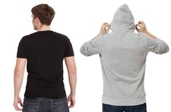 T shirt and sweatshirt template. Men in black tshirt and in grey hoody. Back rear view. Mock up isolated on white background. Copy stock photos