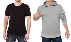 T shirt and sweatshirt template. Men in black tshirt and in grey hoody. Front view. Mock up isolated on white background. Man. Point copy space. Place for print stock photography
