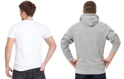 T shirt and sweatshirt template. Men in white tshirt and in grey hoody. Back rear view. Mock up isolated on white background. Copy stock photography