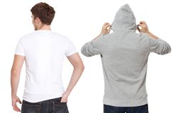 T shirt and sweatshirt template. Men in white tshirt and in grey hoody. Back rear view. Mock up isolated on white background. Copy. Space. Place for print royalty free stock images
