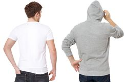 T shirt and sweatshirt template. Men in white tshirt and in grey hoody. Back rear view. Mock up isolated on white background. Copy royalty free stock photos