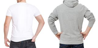 T shirt and sweatshirt template. Men in white tshirt and in grey hoody. Back rear view. Mock up isolated on white background. Copy. Space. Place for print stock photo