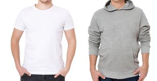 T shirt and sweatshirt template. Men in white tshirt and in grey hoody. Front view. Mock up isolated on white background. Copy. Space. Place for print. Cropped stock photos