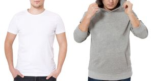 T shirt and sweatshirt template. Men in white tshirt and in grey hoody. Front view. Mock up isolated on white background. Copy. Space. Place for print. Cropped stock images