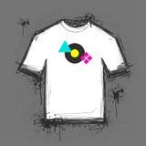 T-shirt template. An original grungy blank t-shirt template vector illustration