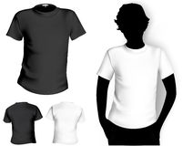 T-shirt template. Men's white and black ( back and front) t-shirt template with human body silhouette Stock Photography