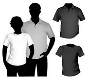 T-shirt template. Vector. Men's black and white t-shirt and polo shirt template with human body silhouette Royalty Free Stock Photography