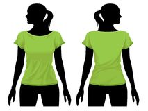 T-shirt template. Women's t-shirt template with human body silhouette Royalty Free Stock Image