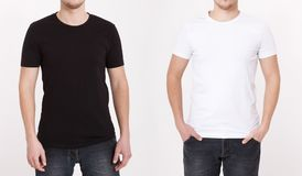 T-shirt template. Front and back view. Mock up isolated on white. Background royalty free stock photo