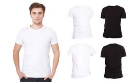 T-shirt template. Front and back view. Mock up isolated on white background. Black Blank Shirt. Men. T-shirt template. Front and back view. Mock up isolated on royalty free stock photos
