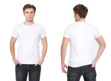 T-shirt template. Front and back view. Mock up isolated on white. Background royalty free stock image
