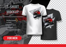 T-Shirt template, fully editable with ATV Off-Road buggy Logo. EPS 10 Vector Illustration royalty free illustration