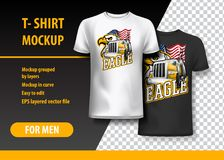 T-Shirt template, fully editable with Truck and eagle logo. EPS 10 Vector Illustration. HiRes, Vector EPS10 file. 100% Layered and editable. Good for all sizes vector illustration