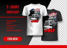 T-Shirt template, fully editable with Truck and Wolf logo. EPS 10 Vector Illustration. HiRes, Vector EPS10 file. 100% Layered and editable. Good for all sizes vector illustration