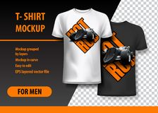 T-Shirt template, fully editable with Vintage Hot Rod logo in two colors. EPS 10 Vector Illustration. HiRes, Vector EPS10 file. 100% Layered and editable. Good royalty free illustration
