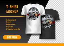 T-Shirt template, fully editable with Vintage Off Road logo. EPS 10 Vector Illustration. HiRes, Vector EPS10 file. 100% Layered and editable. Good for all sizes royalty free illustration