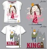 T-shirt template,kids wear,princess,print. Textile design vector illustration