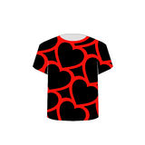 T Shirt Template. Red Hearts Stock Photo
