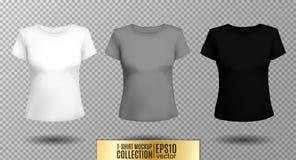 T-shirt template set for men and women, realistic gradient mesh vetor eps10 illustration. T-shirt template set for men and women, realistic gradient mesh vector stock illustration