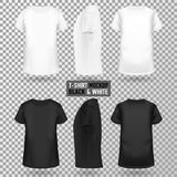 T-shirt template in three dimentions. T-shirt template on a transparent backgroundin three dimentions: front, side and back view, realistic gradient mesh vetor vector illustration
