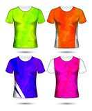 T-shirt templates abstract geometric collection of different colors polygonal mosaic. E stock illustration