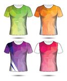T-shirt templates abstract geometric collection of different colors polygonal mosaic. Eps.10 royalty free illustration