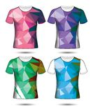 T-shirt templates abstract geometric collection of different colors polygonal mosaic. Eps.10 vector illustration