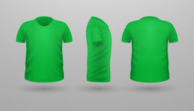 T-shirt Teplate Set. Front Side Back View. Vector. T-shirt template set, front, side, back view. Green color. Realistic vector illustration in flat style. Sport Stock Photography