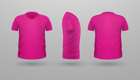 T-shirt Teplate Set. Front Side Back View. Vector. T-shirt template set, front, side, back view. Pink color. Realistic vector illustration in flat style. Sport Stock Photos