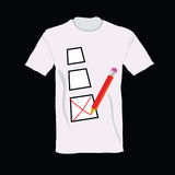 T-shirt with ticking  illustration. Art Stock Photos