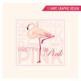 T-shirt Tropical Flamingo Graphic Design Royalty Free Stock Photos
