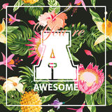 T-shirt Tropical Flowers Graphic Design Stock Image