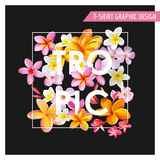 T-shirt Tropical Flowers Graphic Design Royalty Free Stock Photos